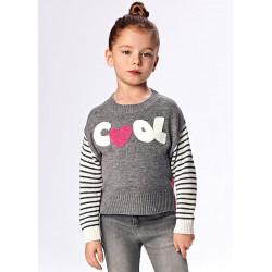 Jersey niña intarsia gris.